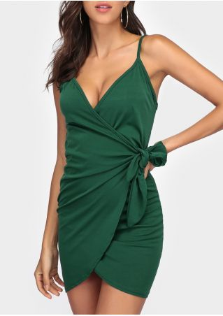 Solid Tie Spaghetti Strap Bodycon Dress