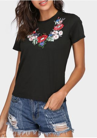 Embroidery O-Neck Short Sleeve T-Shirt