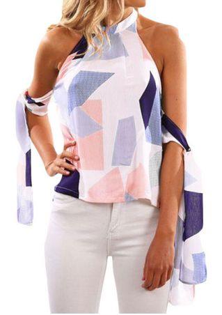 Geometric Printed Backless Blouse