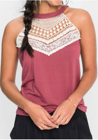 Lace Splicing Hollow Out Tank