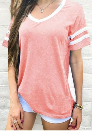 Striped Short Sleeve T-Shirt without Necklace