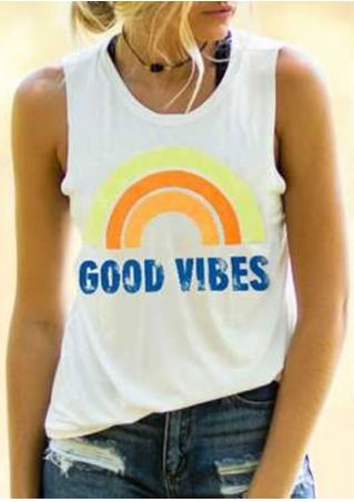 Good Vibes O-Neck Rainbow Tank