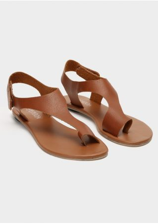 Solid Casual Flat Sandals