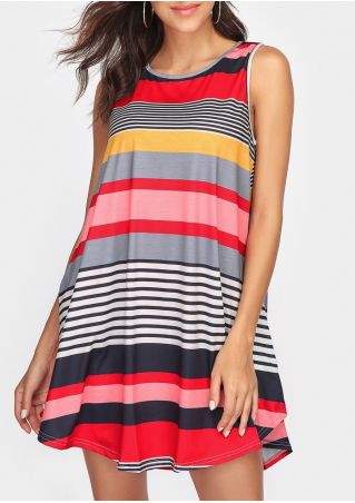 Striped O-Neck Pocket Mini Dress