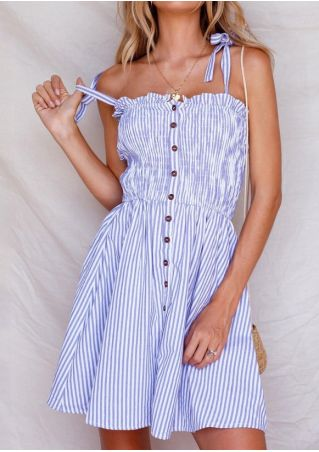 Striped Button Tie Mini Dress without Necklace