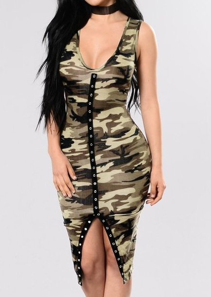 Image of Camouflage Printed V-Neck Casual Dress without Choker
