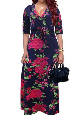 Plus Size Floral Wrap V-Neck Maxi Dress without Necklace