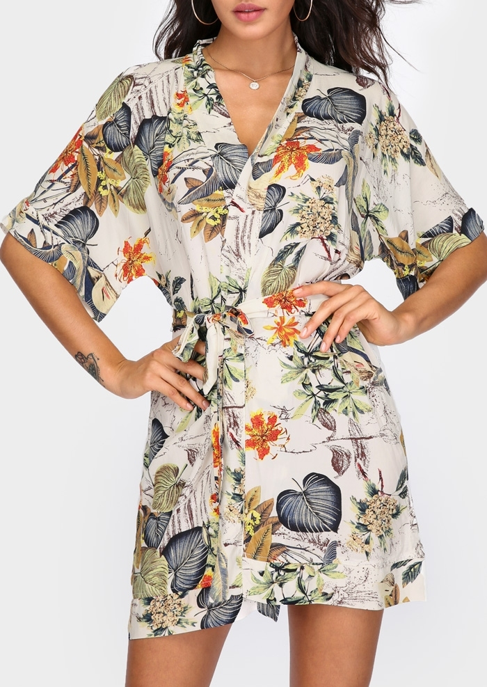 Floral V-Neck Mini Dress without Necklace