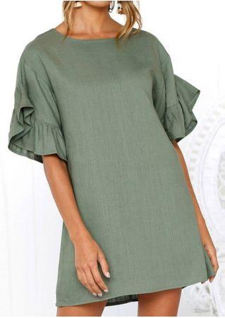 b5327f3659c Solid Flare Sleeve Mini Dress