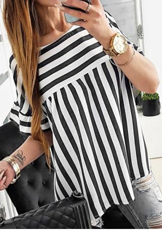 Striped O-Neck Short Sleeve Blouse