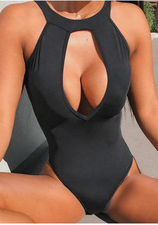 Solid Hollow Out One-Piece Swimsuit without Necklace