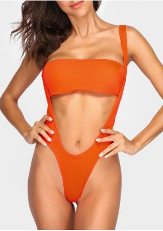 Solid Hollow Out Sexy Swimsuit without Necklace