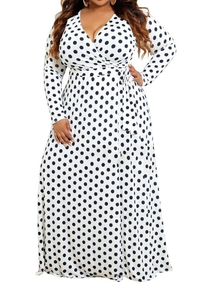 3070786e3f9 Plus Size Polka Dot Wrap Maxi Dress - Fairyseason