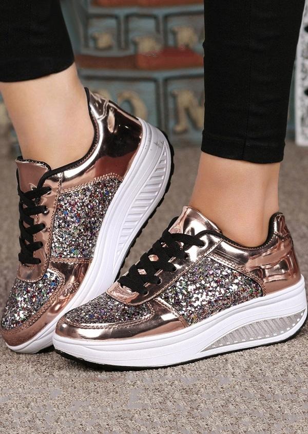 Bling Bling Lace Up Sneakers - Fairyseason