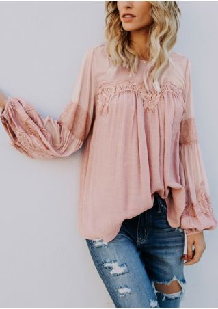 Solid Lace Floral Mesh Splicing Blouse