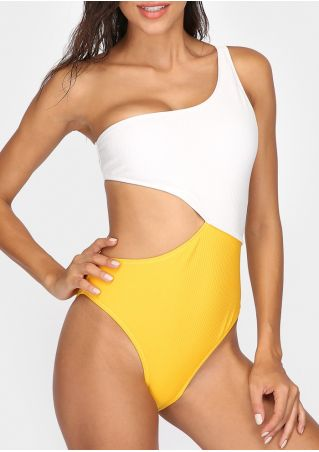 36f24260e8eaa Color Block One-Piece Swimsuit without Necklace