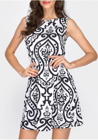 Printed O-Neck Sleeveless Mini Dress without Necklace