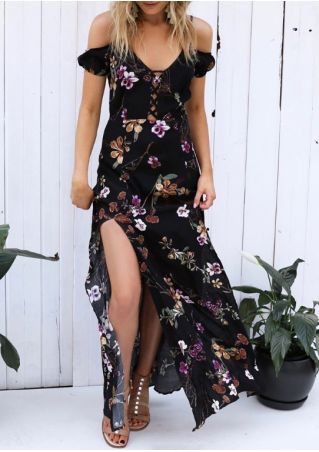 Floral Criss-Cross Cold Shoulder Maxi Dress