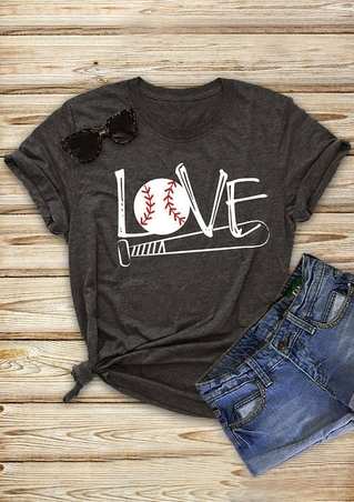 Love Baseball Bat Short Sleeve T-Shirt