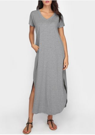 Solid Slit Pocket Maxi Dress without Necklace