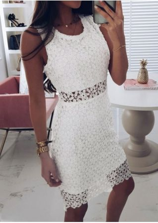 Solid Lace Floral Mini Dress without Necklace