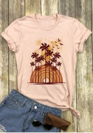 Vintage Palm Tree O-Neck T-Shirt