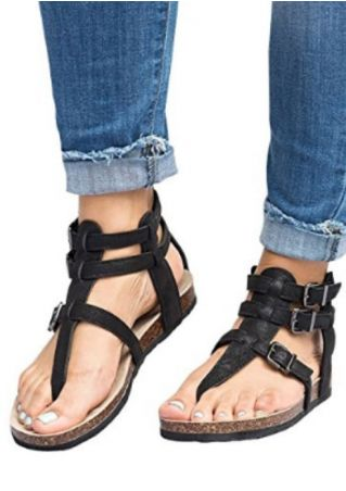 Solid Buckle Strap Flat Sandals
