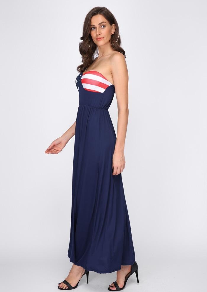 American Flag Strapless Maxi Dress Fairyseason