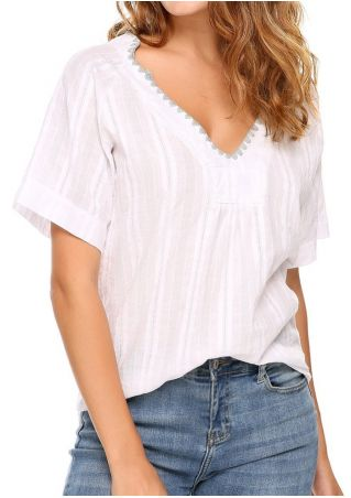 Splicing V-Neck Short Sleeve Blouse