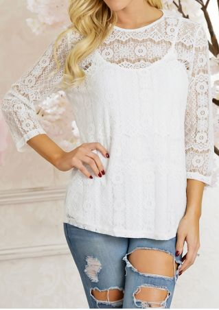 Solid Lace Floral Hole Blouse