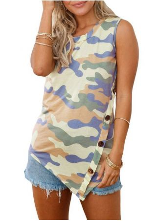 Camouflage Printed Button Tank