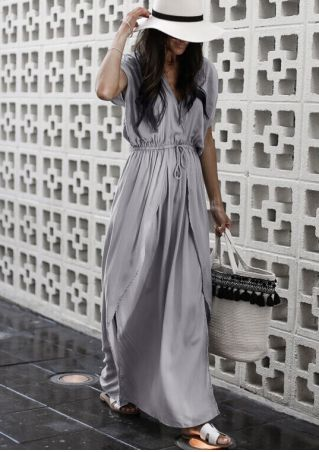 Solid Deep V-Neck Slit Maxi Dress