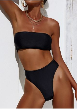 Solid Strapless Sexy Bikini Set without Necklace