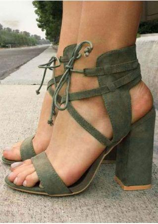 Solid Ankle Strap Heeled Sandals