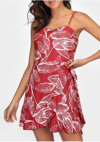 Leaf Spaghetti Strap Tie Mini Dress