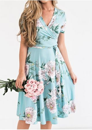 Floral V-Neck Short Sleeve Mini Dress