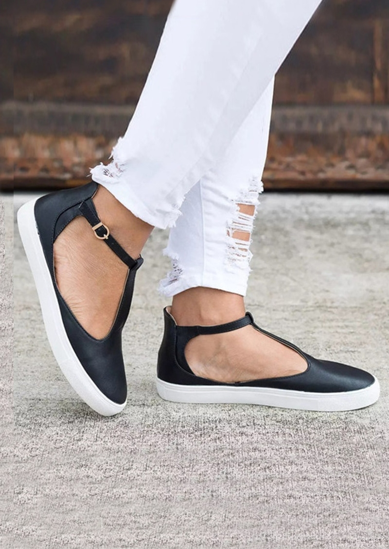 Solid Buckle Strap Round Toe Flats фото