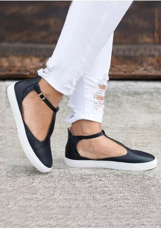 Solid Buckle Strap Round Toe Flats