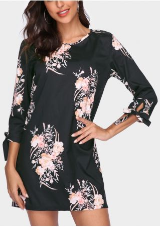 Floral Printed O-Neck Mini Dress