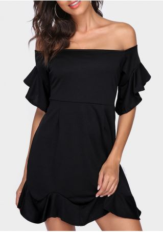 Solid Off Shoulder Ruffled Mini Dress