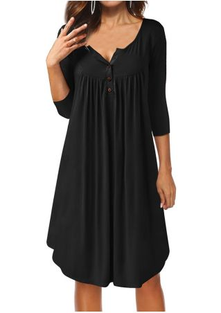 Solid Ruffled Button Casual Dress