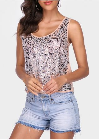 Sequined O-Neck Casual Tank