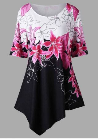 Floral Asymmetric O-Neck Blouse