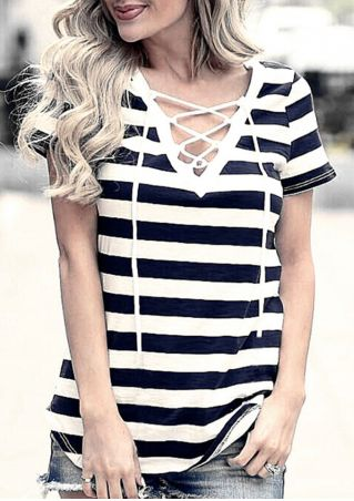 Striped Lace Up V-Neck T-Shirt