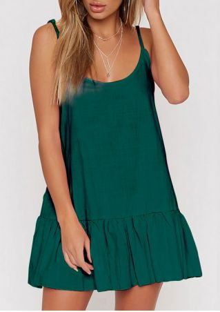 Solid Ruffled Spaghetti Strap Mini Dress without Necklace