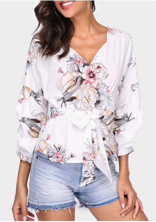 Floral V-Neck Wrap Blouse with Belt