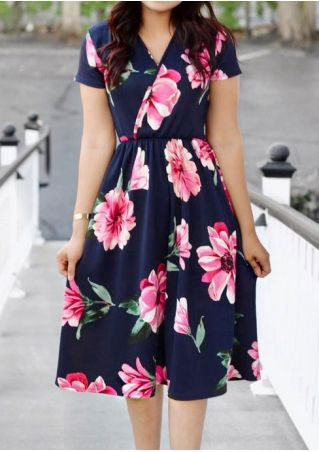 Floral Wrap Deep V-Neck Casual Dress