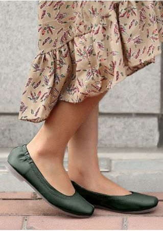 Solid Square Toe Casual Flats