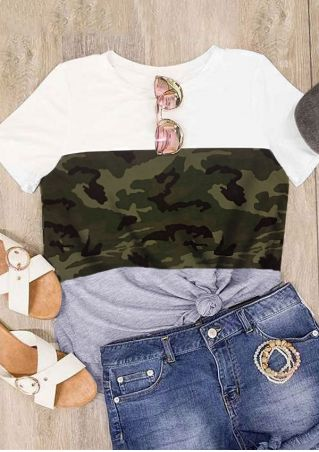 Camouflage Printed Short Sleeve T-Shirt