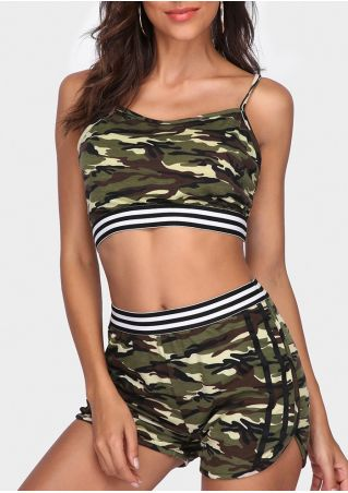Camouflage Printed Striped Splicing Crop Top and Shorts Set